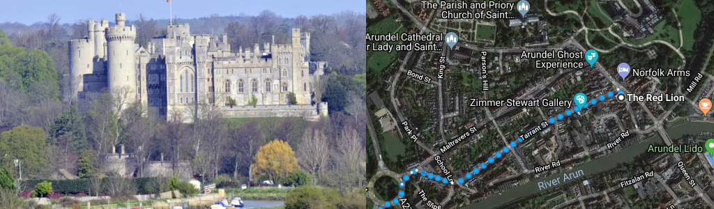 Routes – Arundel centre to Tortington Priory