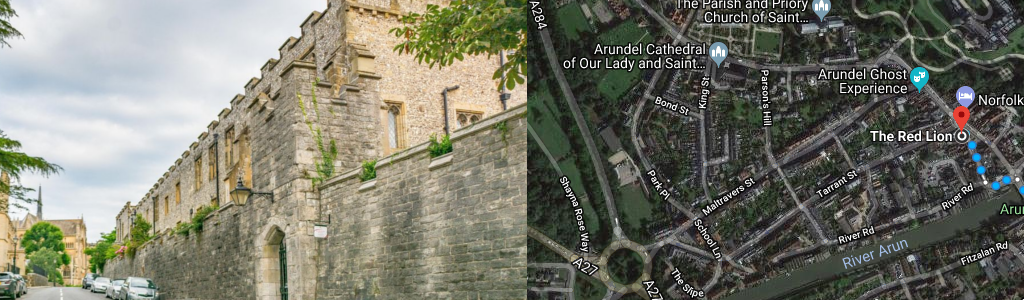 Routes – The Premiere Inn to the centre of Arundel