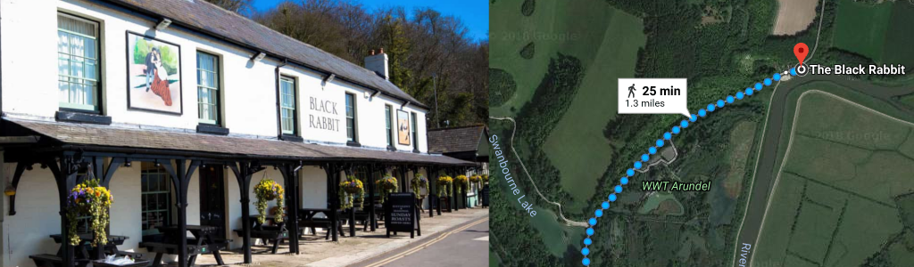 Routes – The centre of Arundel to the Black Rabbit